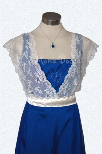 Edwardian Dress handmade in England Sapphire blue Titanic Downton Abbey vintage styled with lace and Swarovski crystals