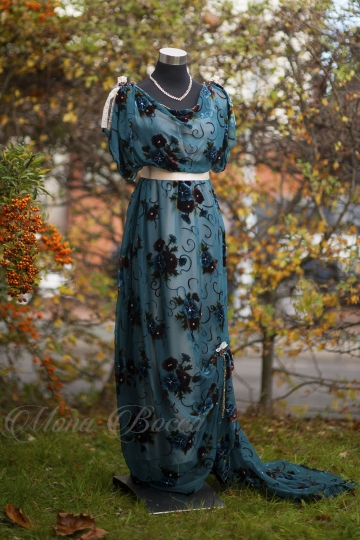Edwardian teal evening dress, Gilded age dress, couture Evening turqoise dress, Wedding dress, Downton Abbey, Titanic 1912 dress made in UK