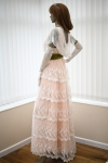 Side view of the long lace Edwardian dress