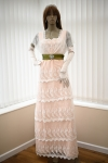 Titanic Edwardian dress in blush and ivory tiered lace on a mannequin