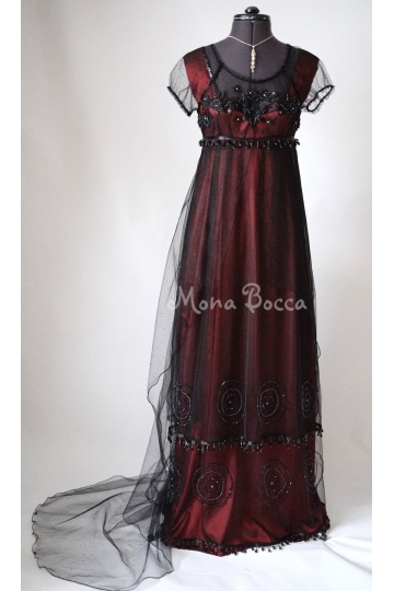 Red Titanic Jump dress with train