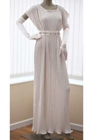 Dark ivory pleated dress