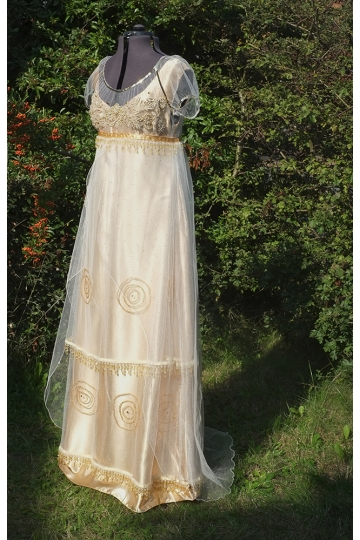 Golden Edwardian gown Titanic Dress Edwardian wedding dress Downton Abbey Regency dress