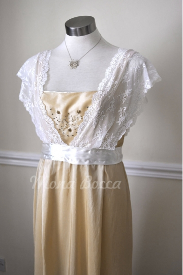 Edwardian Dress handmade in England - cream stone