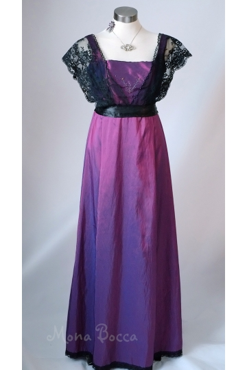 Edwardian Dress handmade in England purple Titanic Downton Abbey vintage styled with black lace and Swarovski crystals