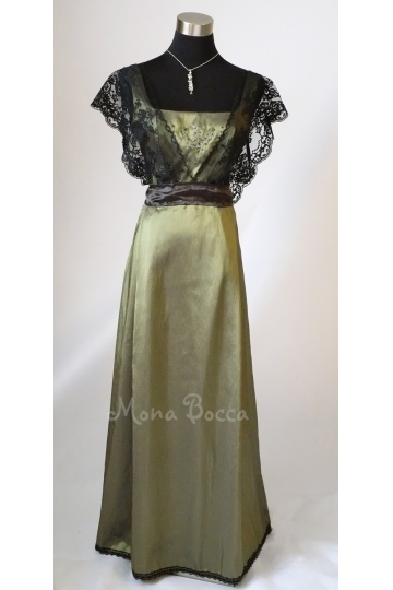 Edwardian Dress olive sage green HANDMADE to ORDER in England Titanic Downton Abbey vintage styled lace Swarovski crystals Treasured by many