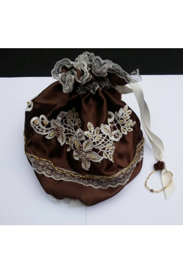 Chocolate ivory handmade steampunk bag, steampunk purse, drawstring bag, Wedding bag, Regency purse, beaded wedding purse, reticule