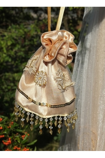 Golden Edwardian bag handmade, Regency drawstring bag, Edwardian purse Regency purse, Jane Austen, beaded wedding purse, reticule