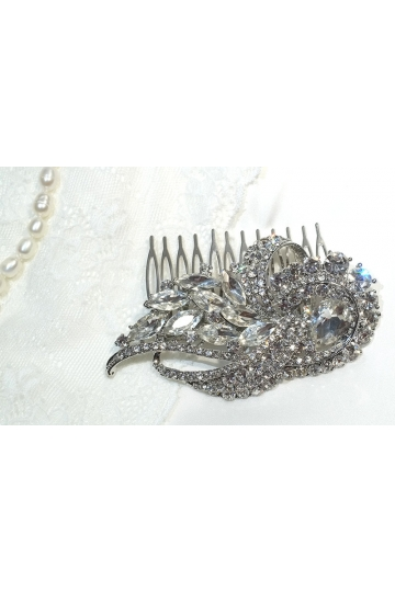 Big silver rhinestone Hair Comb Great Gatsby Haircomb Flapper hair Downton Abbey wedding hair comb