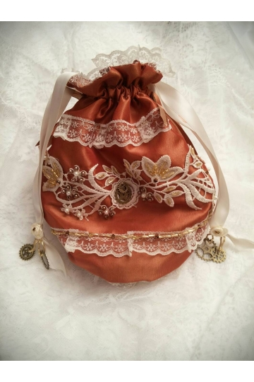 Copper steampunk bag, steampunk purse, drawstring bag, steampunk Wedding bag, beaded wedding purse, handmade steampunk bag