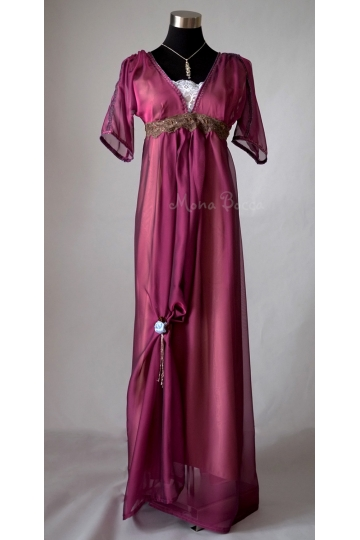 Edwardian purple evening dress handmade in England Downton Abbey inspired Titanic 1912 dress styled