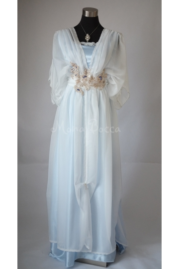 Edwardian ivory blue dress Downton Abbey inspired handmade in England Lady Mary styled Made to order Express delivery