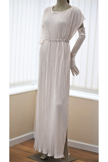 Cream pleated evening dress inspired by Fortuny