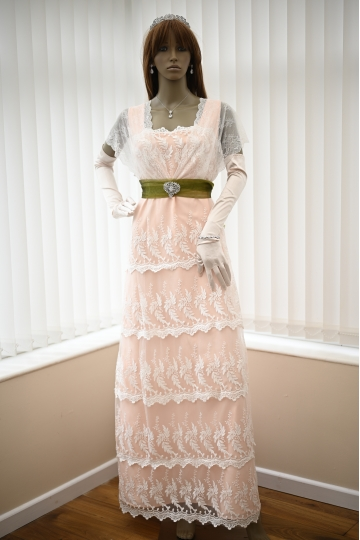 Edwardian wedding dress in blush  with lace Custom made coral wedding gown Titanic Lunch dress Rose Dewitt Bukater 1912 dress