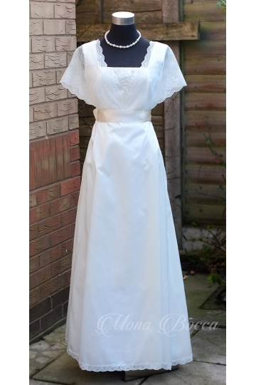 Ivory Edwardian wedding dress with delicate ivory lace , ivory debutante dress made in England.