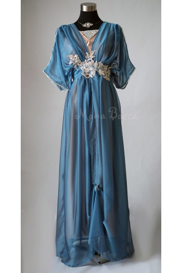Blue Edwardian dress Downton Abbey inspired handmade in England 1910 dress Lady Mary styled